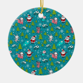 Christmas pattern with funny little animals. christmas tree ornament