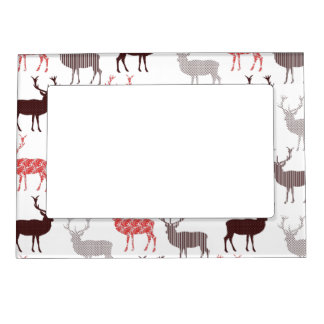 Christmas Patterned Deer Pretty Modern Design Magnetic Frame