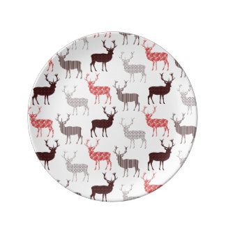 Christmas Patterned Deer Pretty Modern Design Plate