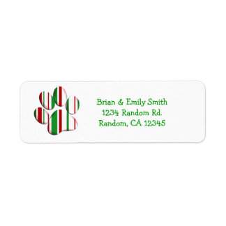Christmas paw print custom holiday labels