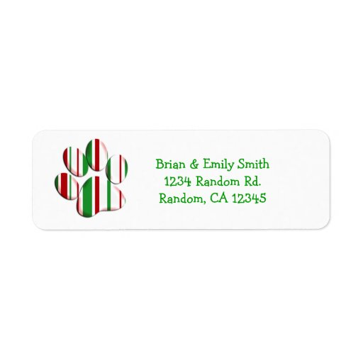Christmas paw print custom holiday labels