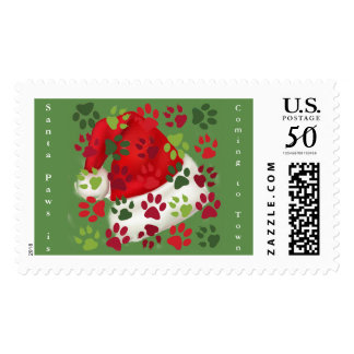 Christmas Paw Prints with Santa Hat Postage