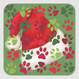 Christmas Paw Prints with Santa Hat Square Sticker