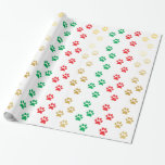 CHRISTMAS PAWPRINTS WRAPPING PAPER | PET PAWS