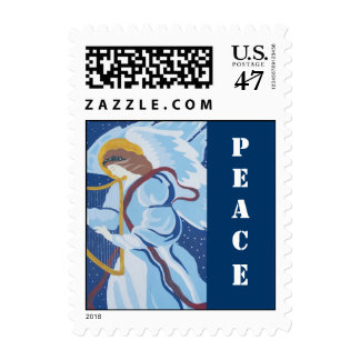 Christmas, Peace, Angel in blue with harp Postage