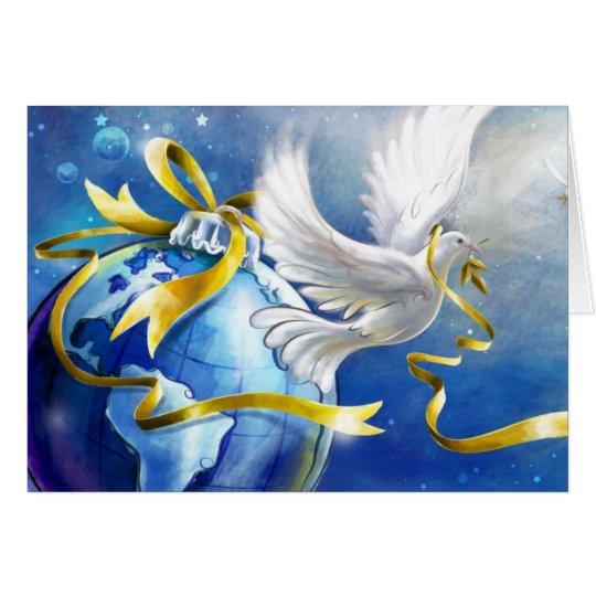 Christmas Peace Dove With Earth Ornament Card