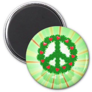 Christmas Peace Hearts Wreath 2 Inch Round Magnet