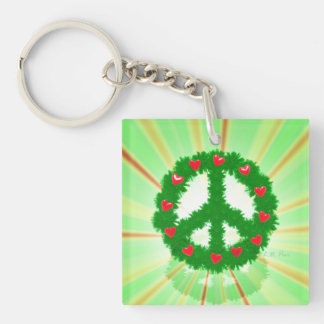 Christmas Peace Hearts Wreath Square Acrylic Key Chains