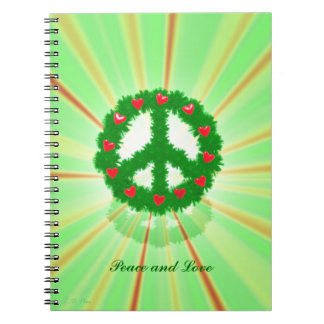 Christmas Peace Hearts Wreath Spiral Notebook