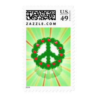 Christmas Peace Hearts Wreath Postage Stamps
