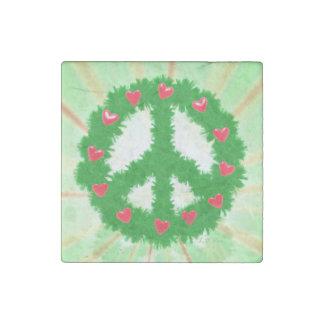 Christmas Peace Hearts Wreath Stone Magnet