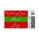 Christmas Peace Joy Red Green Stripes Snowflakes Postage Stamps