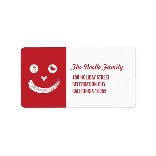 Christmas Peace Love Joy Smiley Holiday Labels