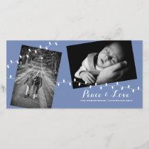 Christmas Peace   Love | Soft Baby Blue Photo Card