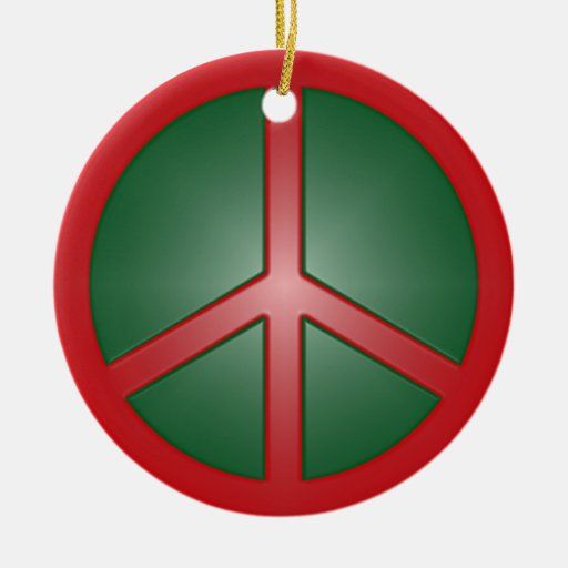 Christmas Peace Sign Ceramic Ornament