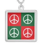 Christmas Peace Sign Personalized Necklace
