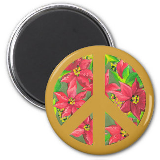 Christmas peace sign with flower pattern magnet