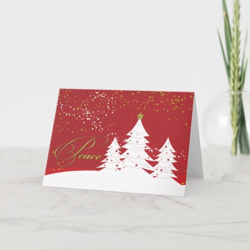 Christmas Peace White Trees on Red with Gold Look Card
