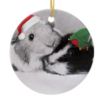 Christmas Peegs Guinea Pig Ceramic Ornament