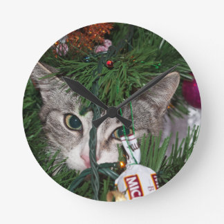 Christmas Peek-a-Boo Kitty ~ Round Wall Clocks