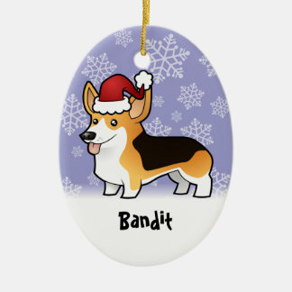 Christmas Pembroke Welsh Corgi (add pets name) Ceramic Ornament