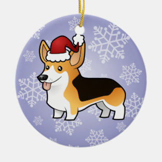 Christmas Pembroke Welsh Corgi Ceramic Ornament