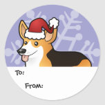 Christmas Pembroke Welsh Corgi Gift Tags Round Stickers