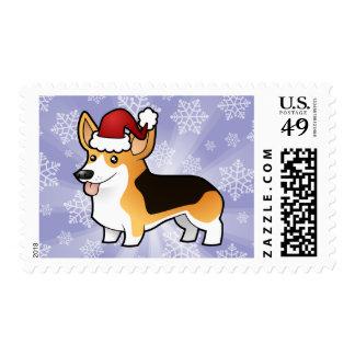 Christmas Pembroke Welsh Corgi Postage Stamps