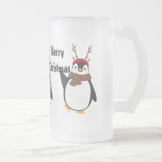 Christmas Penguin 2 Frosted 16oz Frosted Glass Mug