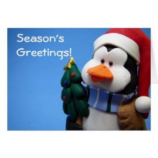 Christmas Penguin Blue Greeting Card