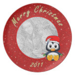 Christmas Penguin Cartoon on Glitter Effect Photo Party Plate