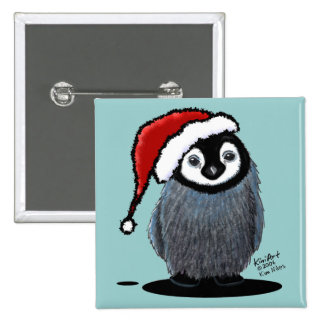 Christmas Penguin Chick 2 Inch Square Button