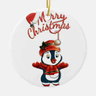 Christmas Penguin Circle Ornament