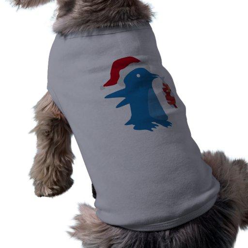 Christmas Penguin Dog T Shirt