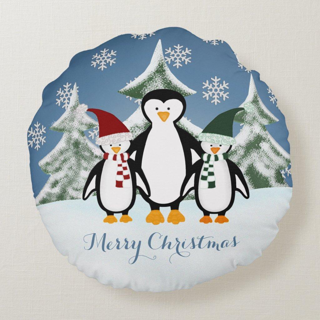 Christmas Penguin Family Merry Christmas Pillow