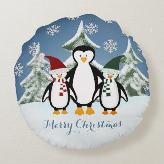 Christmas Penguin Family Merry Christmas Pillow