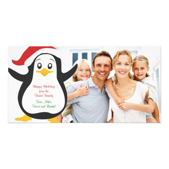 Christmas Penguin Family Photo Card