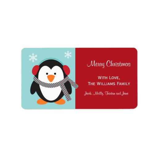 Christmas Penguin Gift Tag Labels