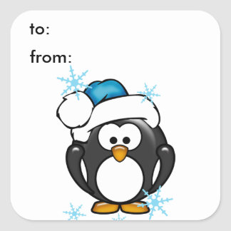 Christmas Penguin Gift Tag Sticker