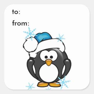 Christmas Penguin Gift Tag Sticker