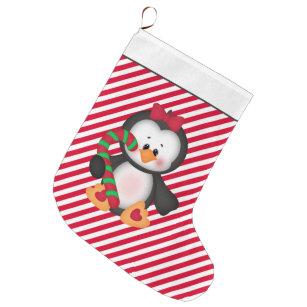 christmas penguin holiday cartoon stocking