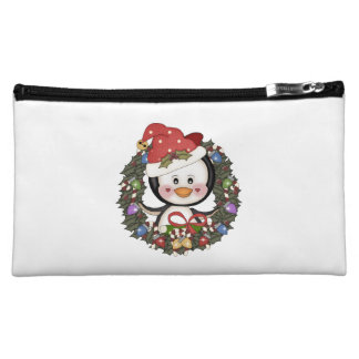 Christmas Penguin Holiday Wreath Cosmetics Bags