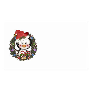 Christmas Penguin Holiday Wreath Double-Sided Standard Business Cards (Pack Of 100)