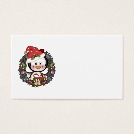 Christmas Penguin Holiday Wreath Business Card