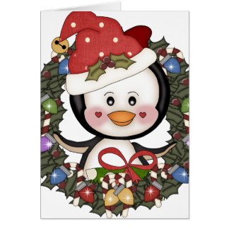 Christmas Penguin Holiday Wreath Card