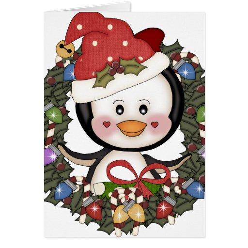 Christmas penguin holiday wreath card zazzle for Penguin christmas cards homemade