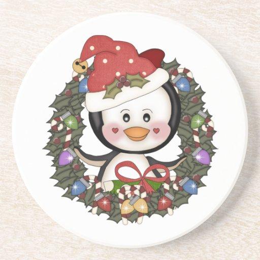 Christmas Penguin Holiday Wreath Coasters