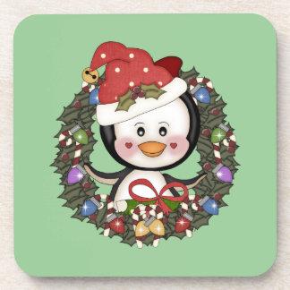 Christmas Penguin Holiday Wreath Drink Coaster