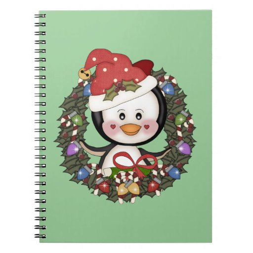 Christmas Penguin Holiday Wreath Note Books