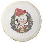 Christmas Penguin Holiday Wreath Sugar Cookie